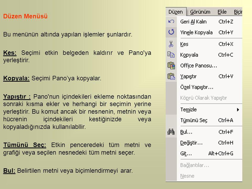 Düzen Menüsü Bu menünün altında yapılan işlemler şunlardır. Kes: Seçimi etkin belgeden kaldırır ve Pano ya yerleştirir.