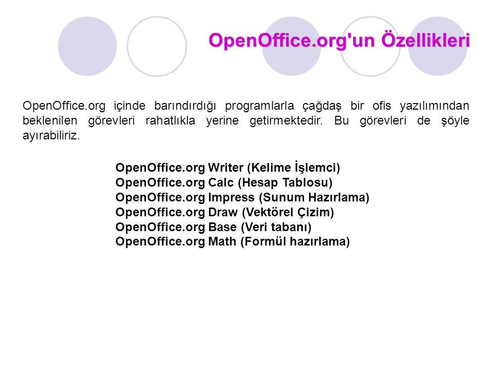 OpenOffice.org un Özellikleri