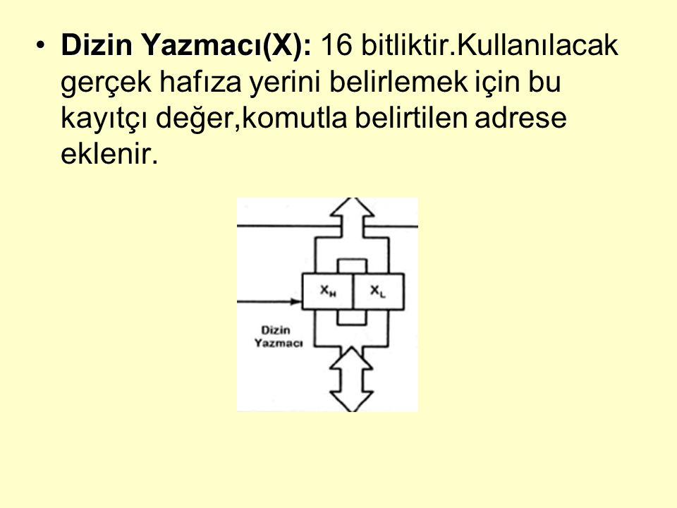 Dizin Yazmacı(X): 16 bitliktir