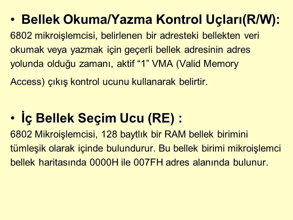 Bellek Okuma/Yazma Kontrol Uçları(R/W):