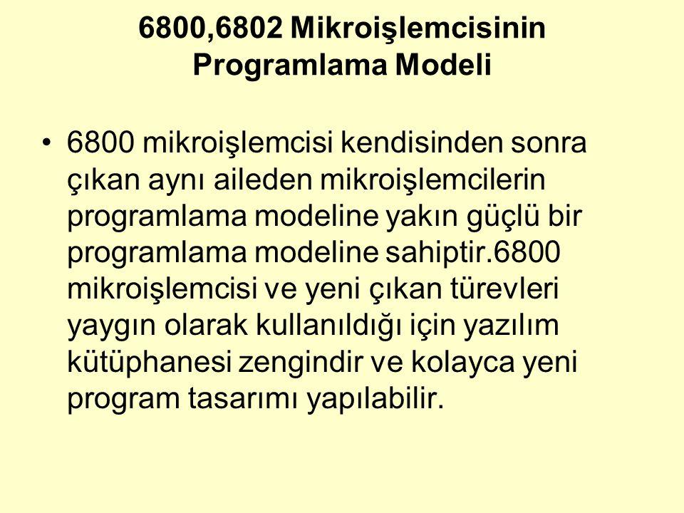 6800,6802 Mikroişlemcisinin Programlama Modeli