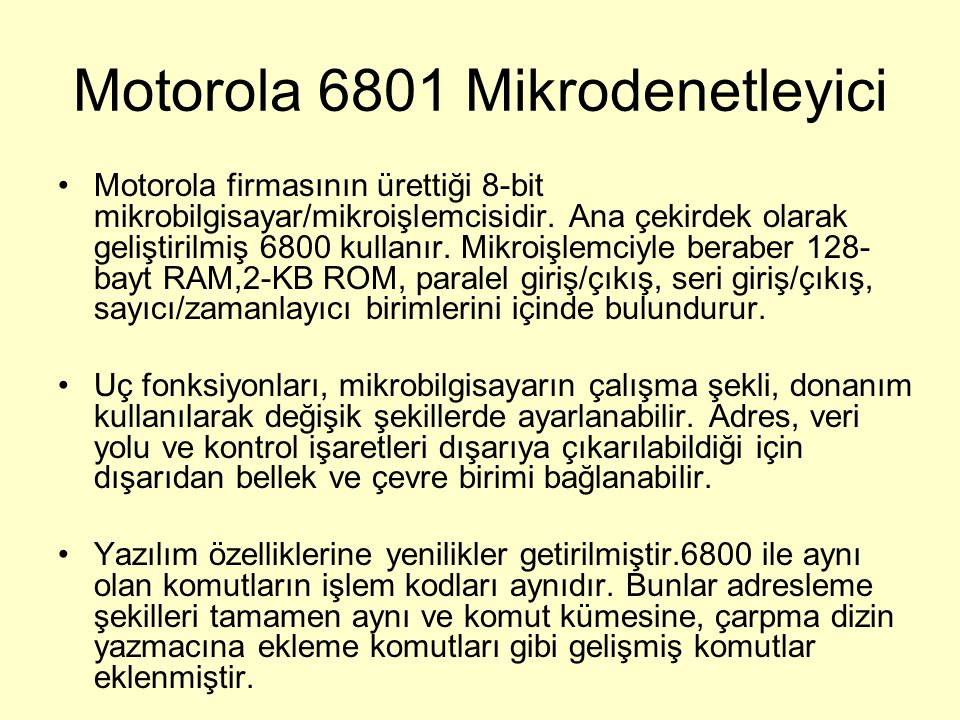 Motorola 6801 Mikrodenetleyici