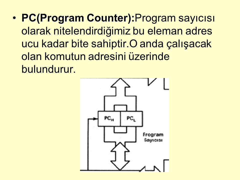 PC(Program Counter):Program sayıcısı olarak nitelendirdiğimiz bu eleman adres ucu kadar bite sahiptir.O anda çalışacak olan komutun adresini üzerinde bulundurur.