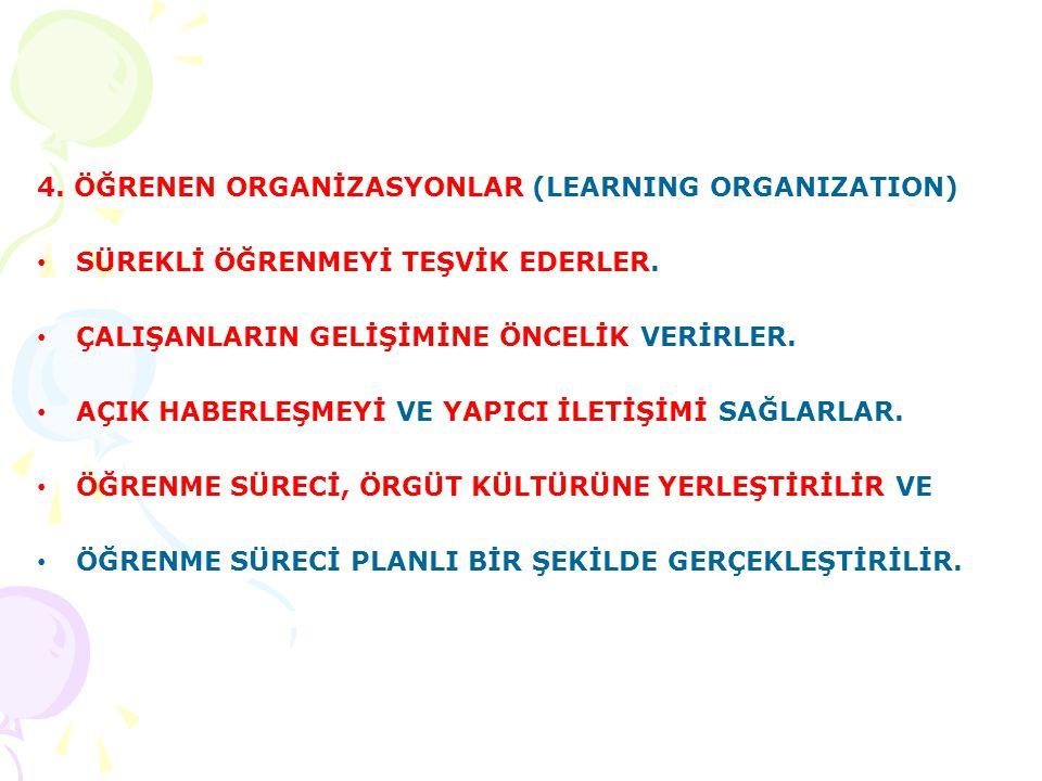 4. ÖĞRENEN ORGANİZASYONLAR (LEARNING ORGANIZATION)