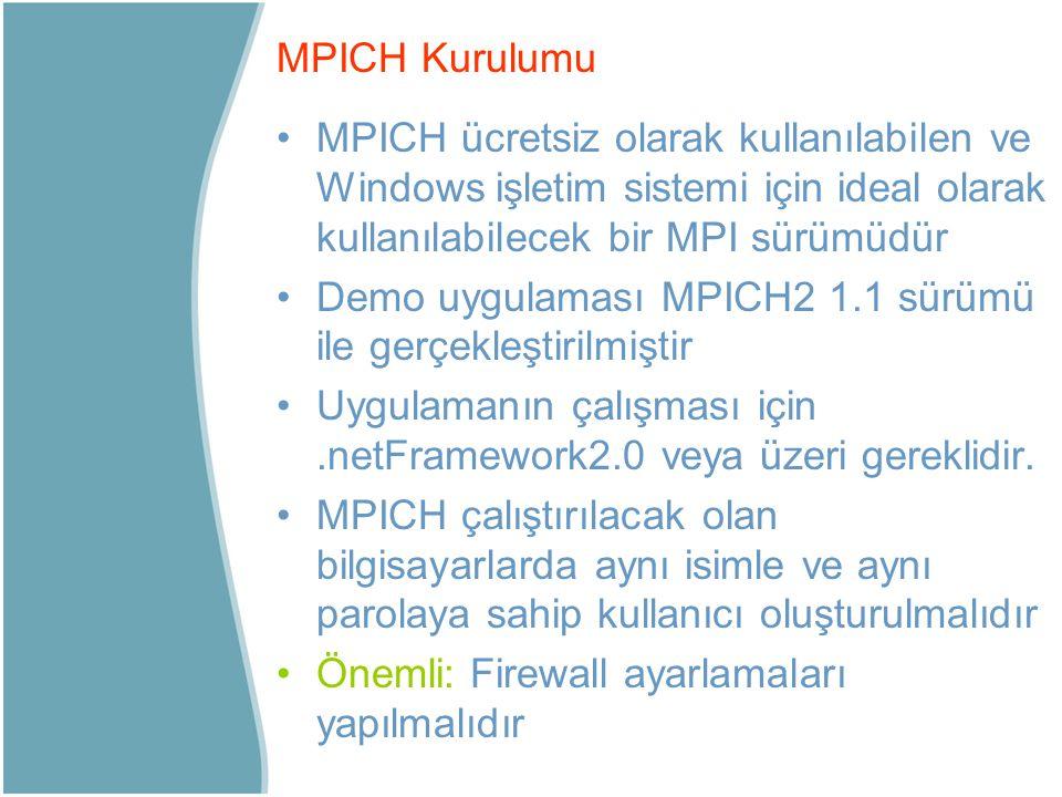 MPICH Kurulumu MPICH ücretsiz olarak kullanılabilen ve Windows işletim sistemi için ideal olarak kullanılabilecek bir MPI sürümüdür.
