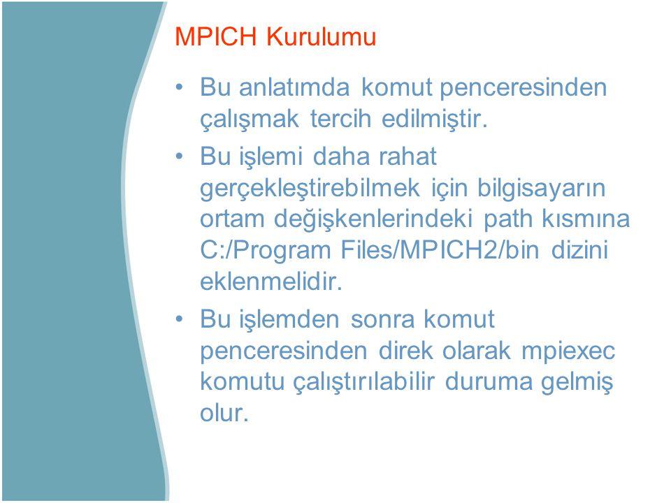MPICH Kurulumu Bu anlatımda komut penceresinden çalışmak tercih edilmiştir.