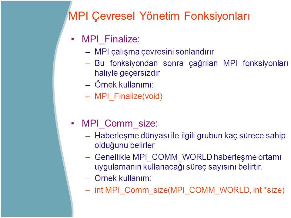 MPI Çevresel Yönetim Fonksiyonları