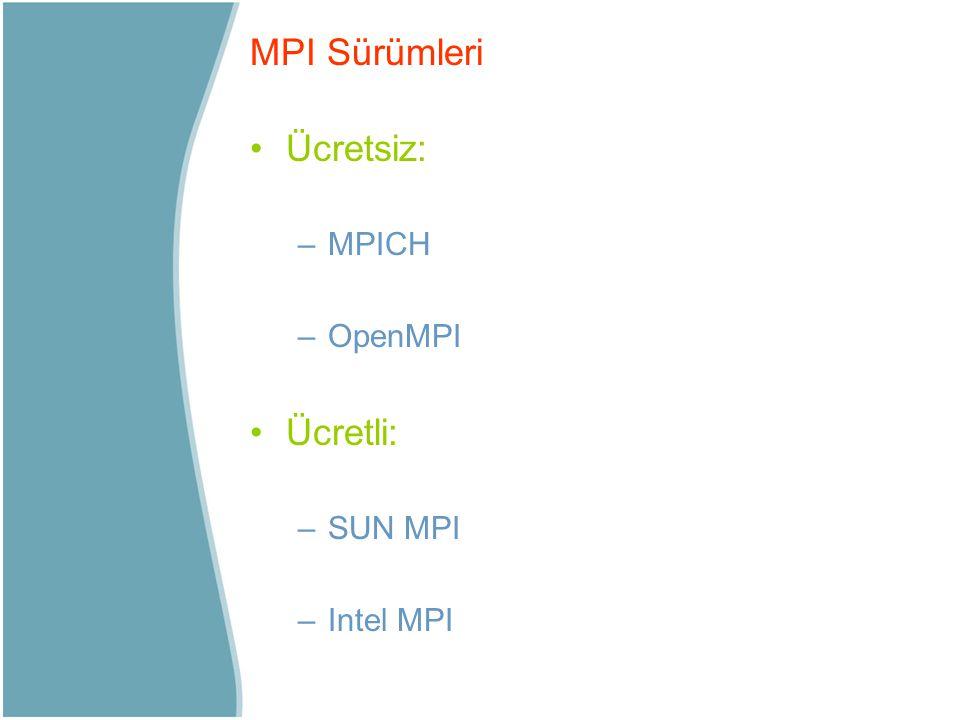 MPI Sürümleri Ücretsiz: MPICH OpenMPI Ücretli: SUN MPI Intel MPI