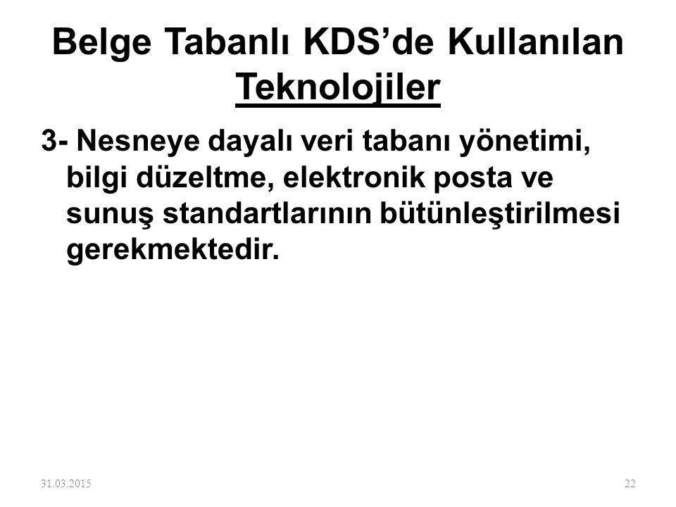 Belge Tabanlı KDS'de Kullanılan Teknolojiler