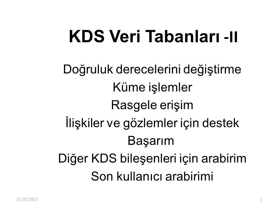KDS Veri Tabanları -II