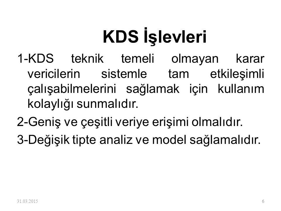 KDS İşlevleri 1-KDS teknik temeli olmayan karar vericilerin sistemle tam etkileşimli çalışabilmelerini sağlamak için kullanım kolaylığı sunmalıdır.