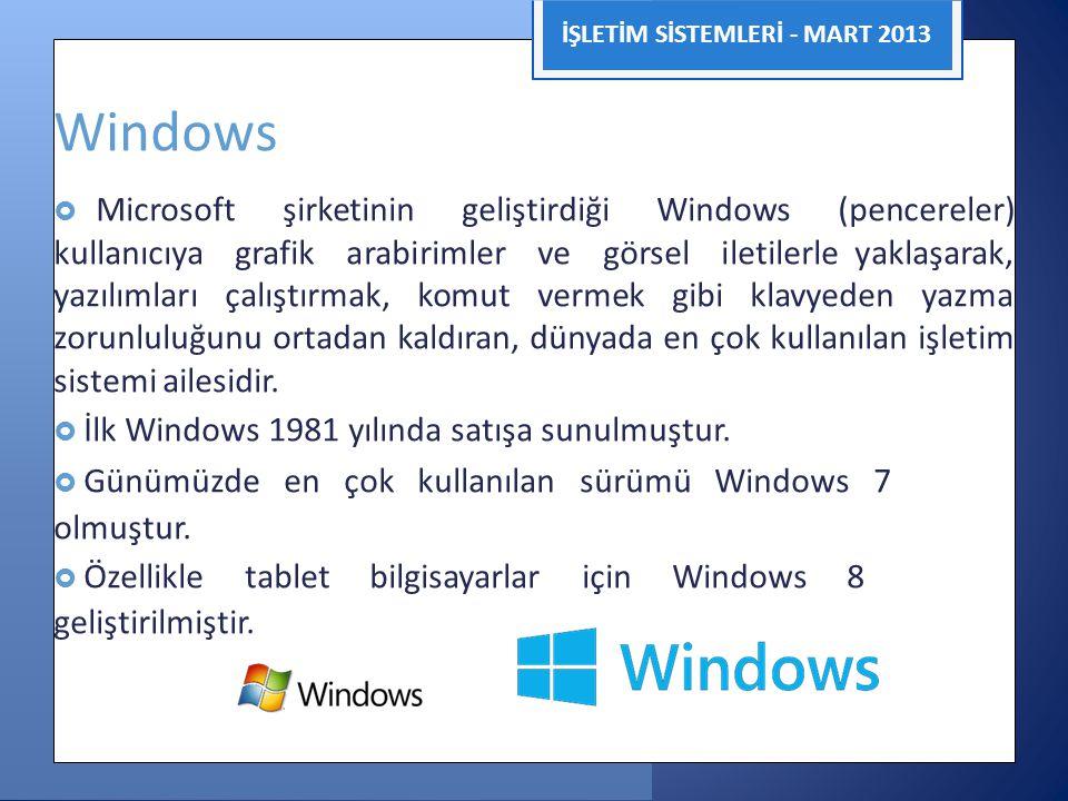Windows olmuştur. geliştirilmiştir. İŞLETİM SİSTEMLERİ - MART 2013