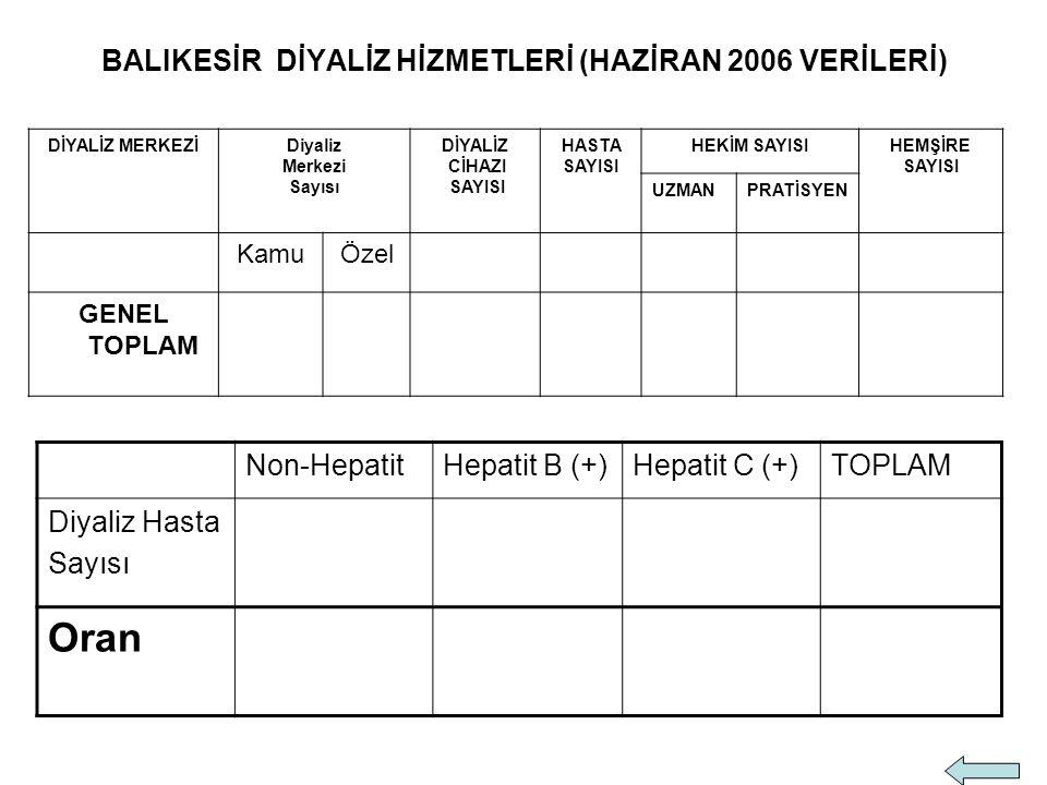 BALIKESİR DİYALİZ HİZMETLERİ (HAZİRAN 2006 VERİLERİ)