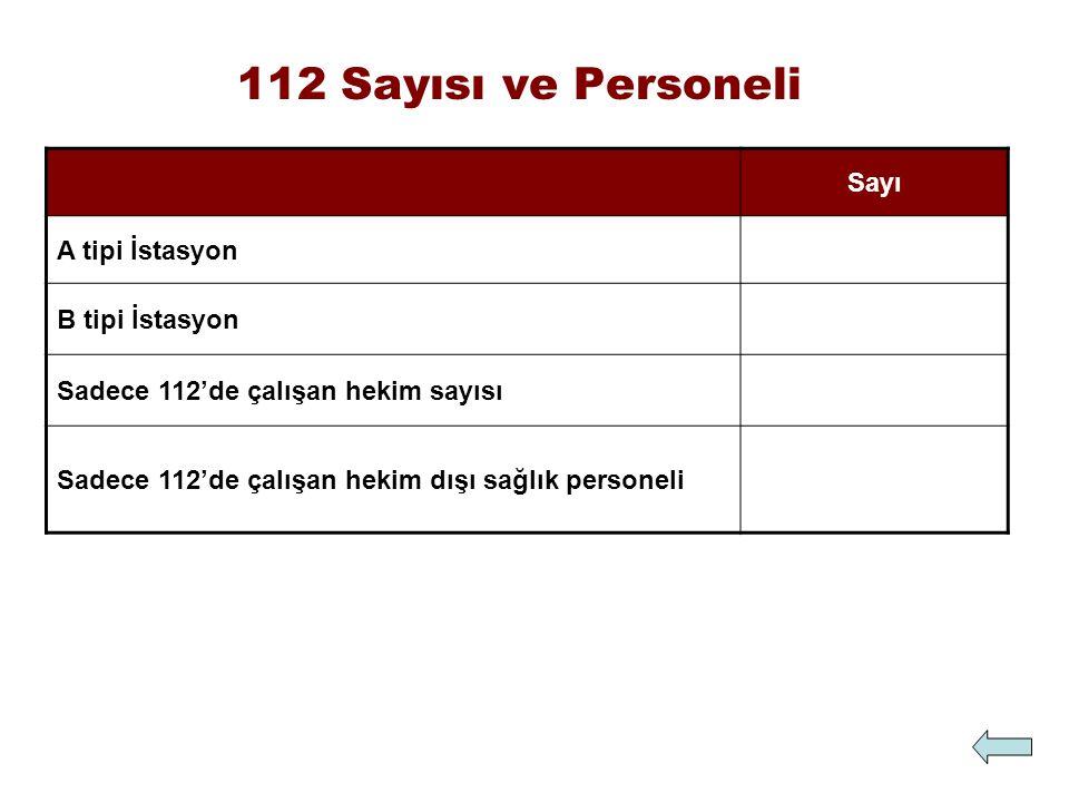 112 Sayısı ve Personeli Sayı A tipi İstasyon B tipi İstasyon