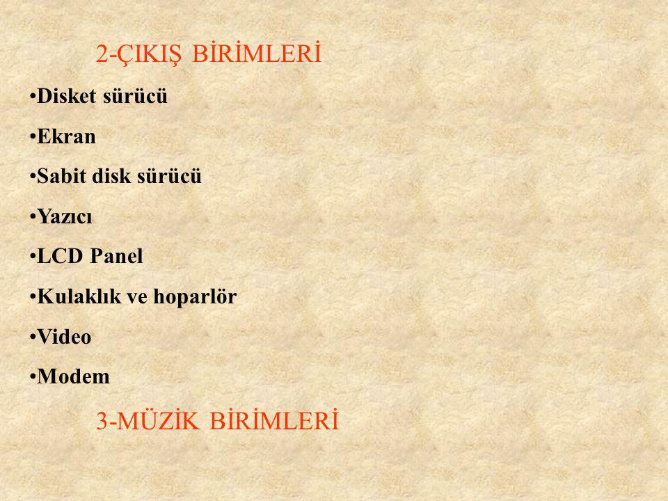 2-ÇIKIŞ BİRİMLERİ Disket sürücü Ekran Sabit disk sürücü Yazıcı
