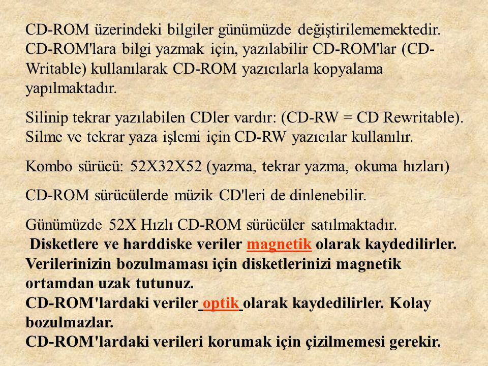 CD-ROM üzerindeki bilgiler günümüzde değiştirilememektedir