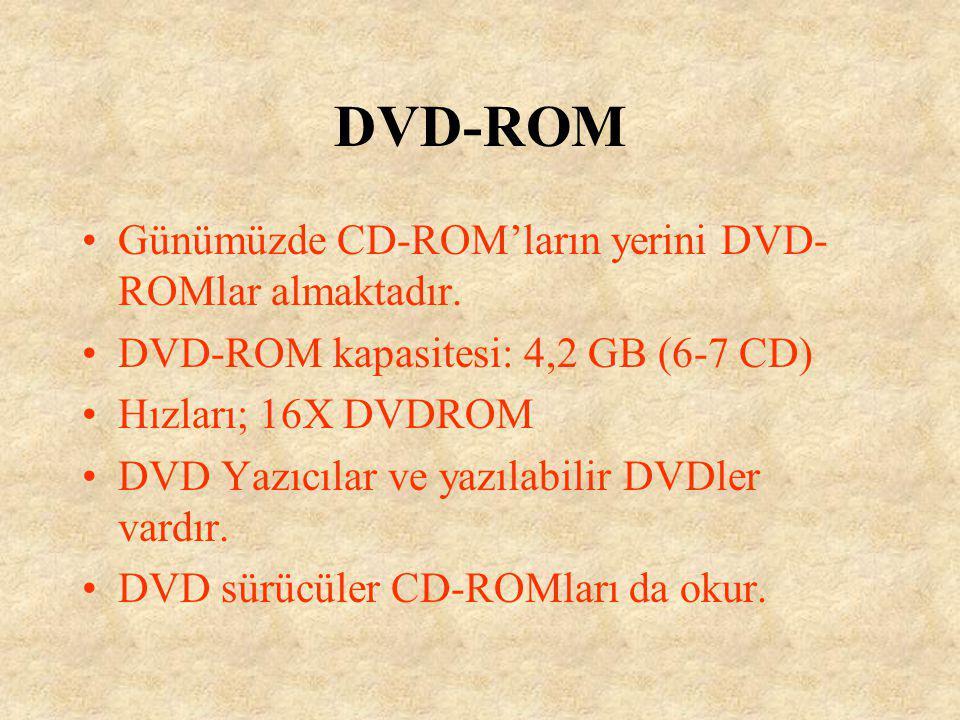 DVD-ROM Günümüzde CD-ROM'ların yerini DVD-ROMlar almaktadır.