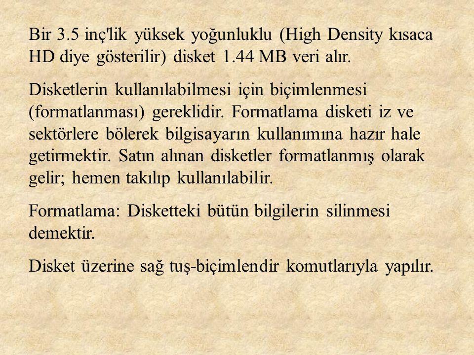Bir 3.5 inç lik yüksek yoğunluklu (High Density kısaca HD diye gösterilir) disket 1.44 MB veri alır.