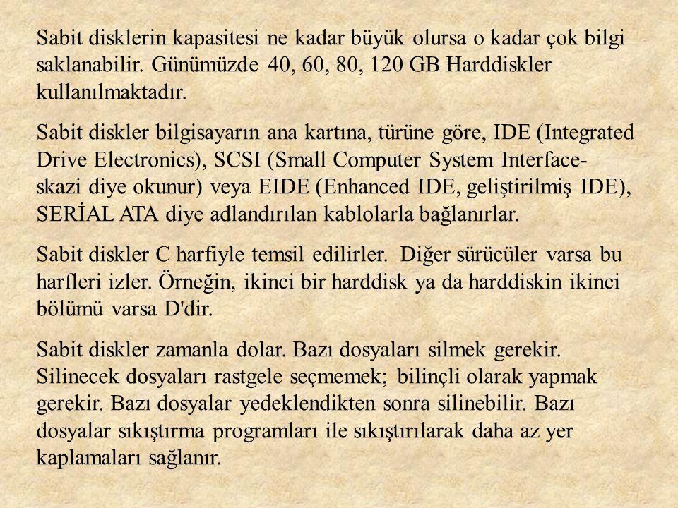 Sabit disklerin kapasitesi ne kadar büyük olursa o kadar çok bilgi saklanabilir. Günümüzde 40, 60, 80, 120 GB Harddiskler kullanılmaktadır.