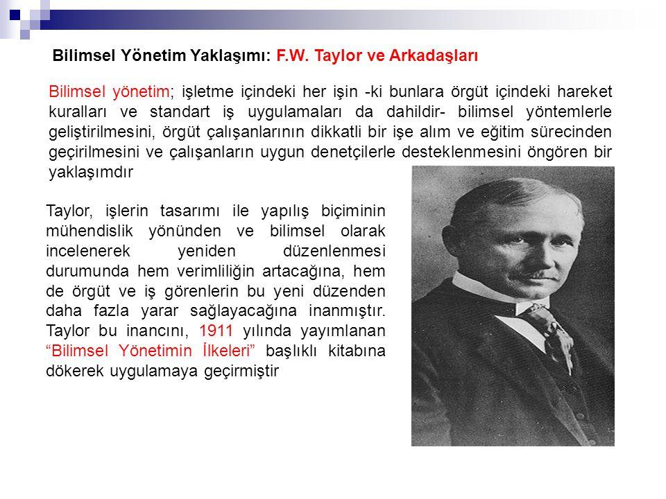Bilimsel Yönetim Yaklaşımı: F.W. Taylor ve Arkadaşları