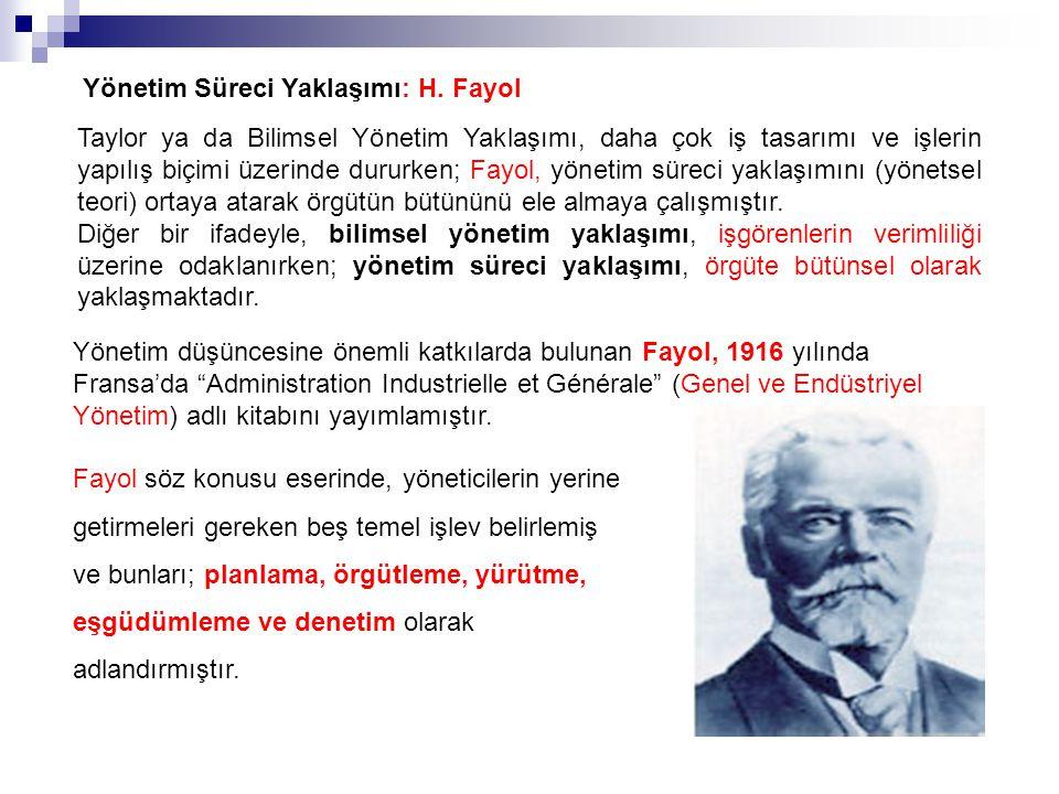 Yönetim Süreci Yaklaşımı: H. Fayol