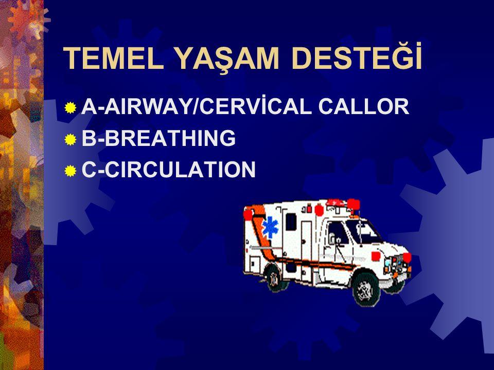 TEMEL YAŞAM DESTEĞİ A-AIRWAY/CERVİCAL CALLOR B-BREATHING C-CIRCULATION