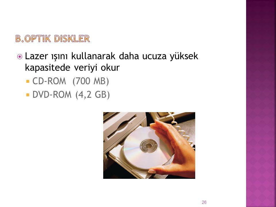 b.Optik Diskler Lazer ışını kullanarak daha ucuza yüksek kapasitede veriyi okur. CD-ROM (700 MB)