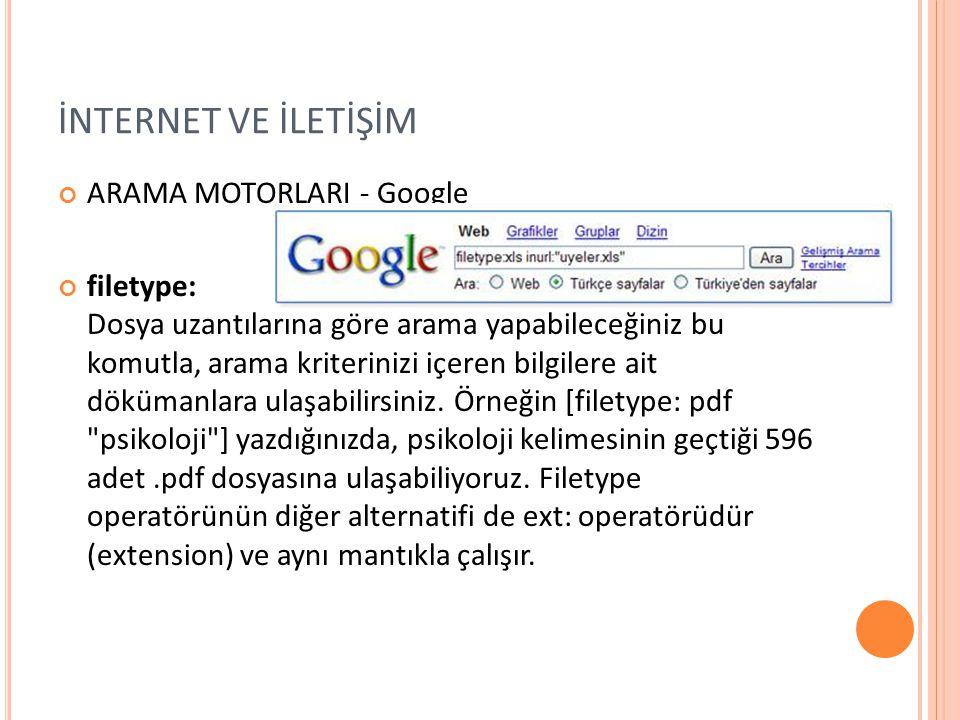 İNTERNET VE İLETİŞİM ARAMA MOTORLARI - Google