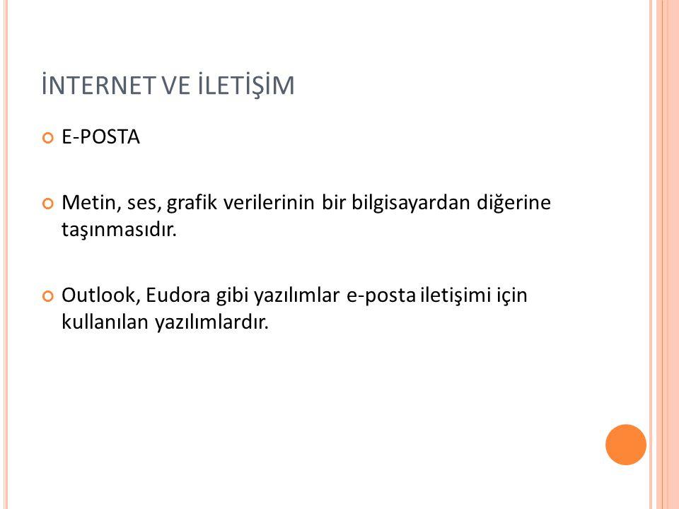 İNTERNET VE İLETİŞİM E-POSTA