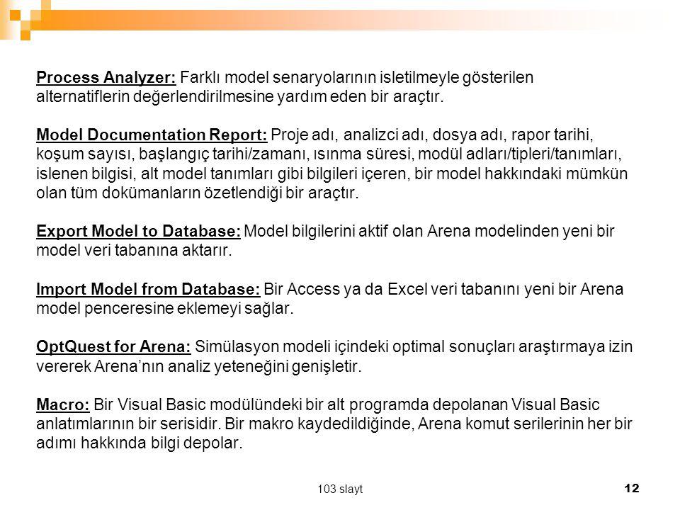 Process Analyzer: Farklı model senaryolarının isletilmeyle gösterilen