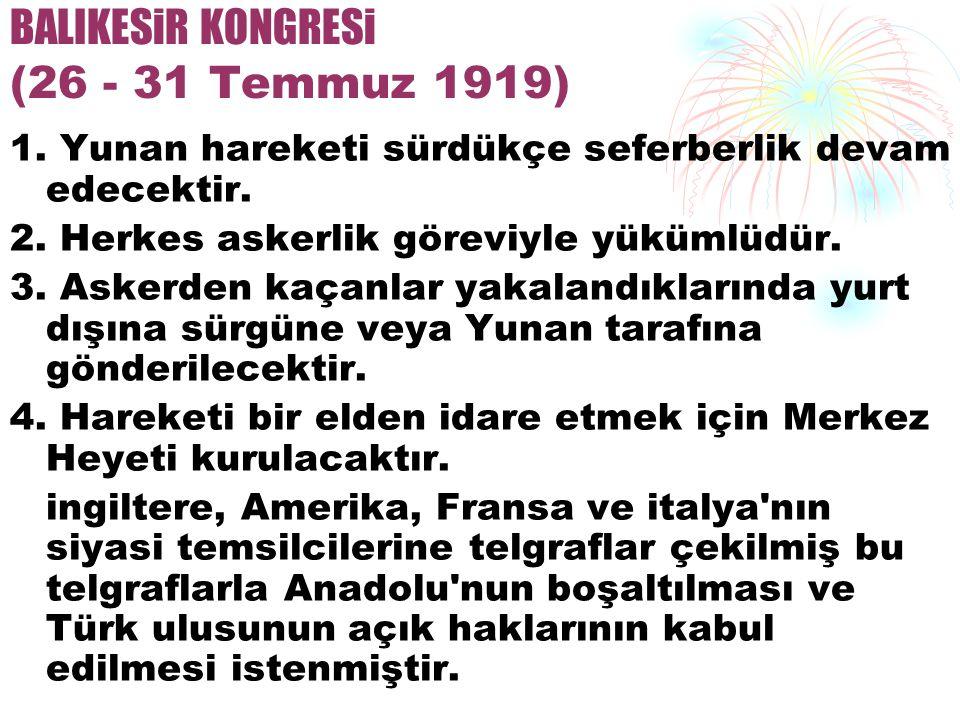 BALIKESiR KONGRESi (26 - 31 Temmuz 1919)