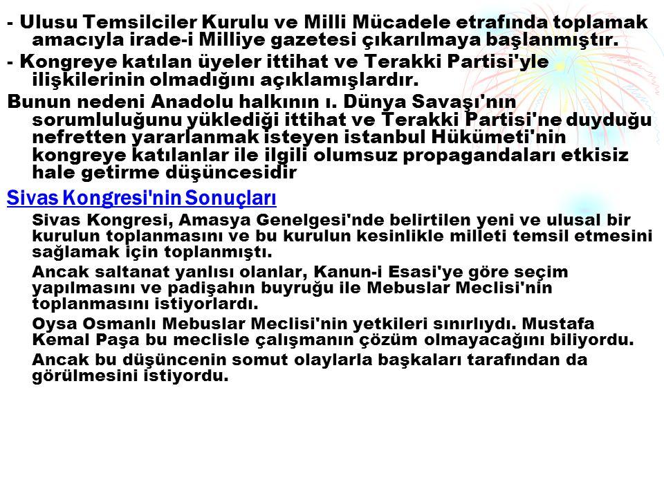 Sivas Kongresi nin Sonuçları