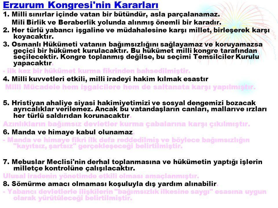 Erzurum Kongresi nin Kararları