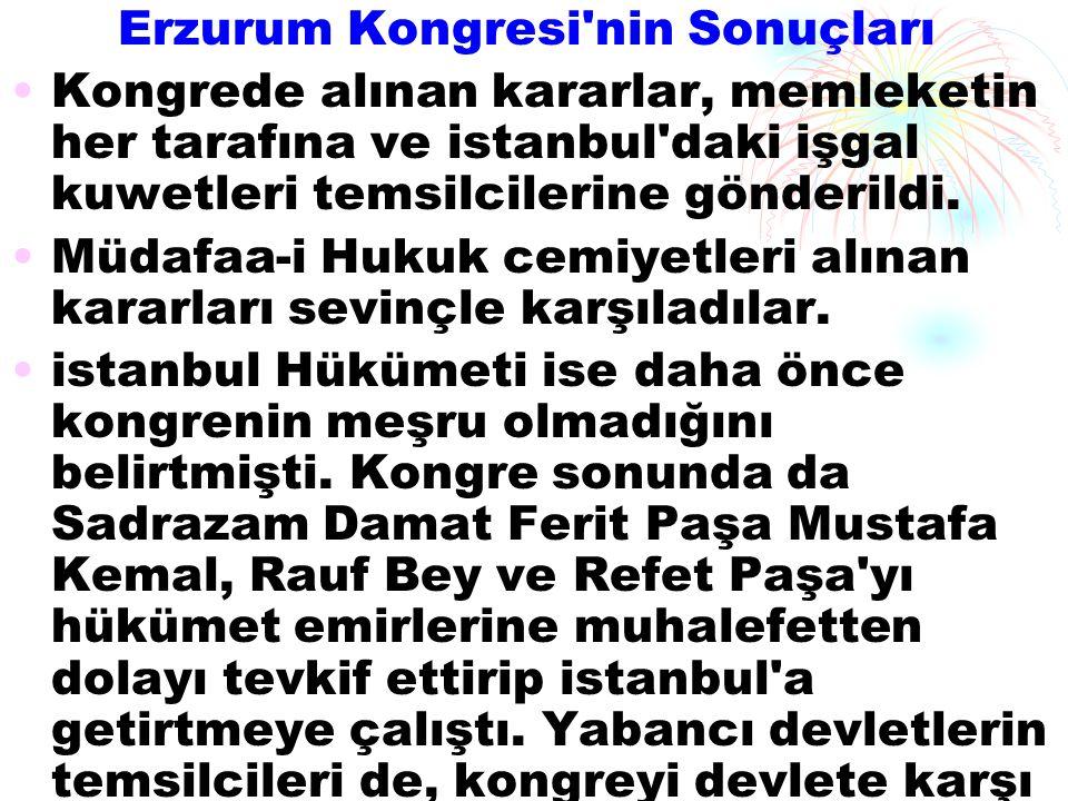 Erzurum Kongresi nin Sonuçları