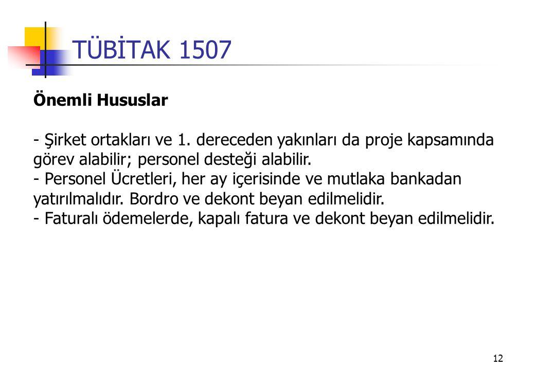 TÜBİTAK 1507 Önemli Hususlar
