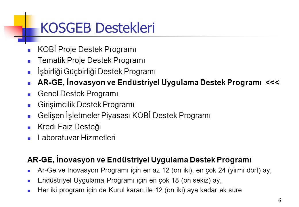 KOSGEB Destekleri KOBİ Proje Destek Programı