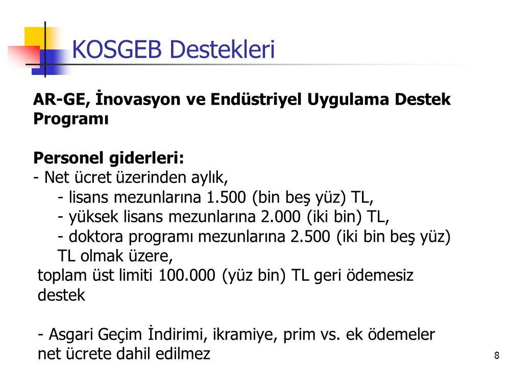 KOSGEB Destekleri AR-GE, İnovasyon ve Endüstriyel Uygulama Destek Programı. Personel giderleri: Net ücret üzerinden aylık,
