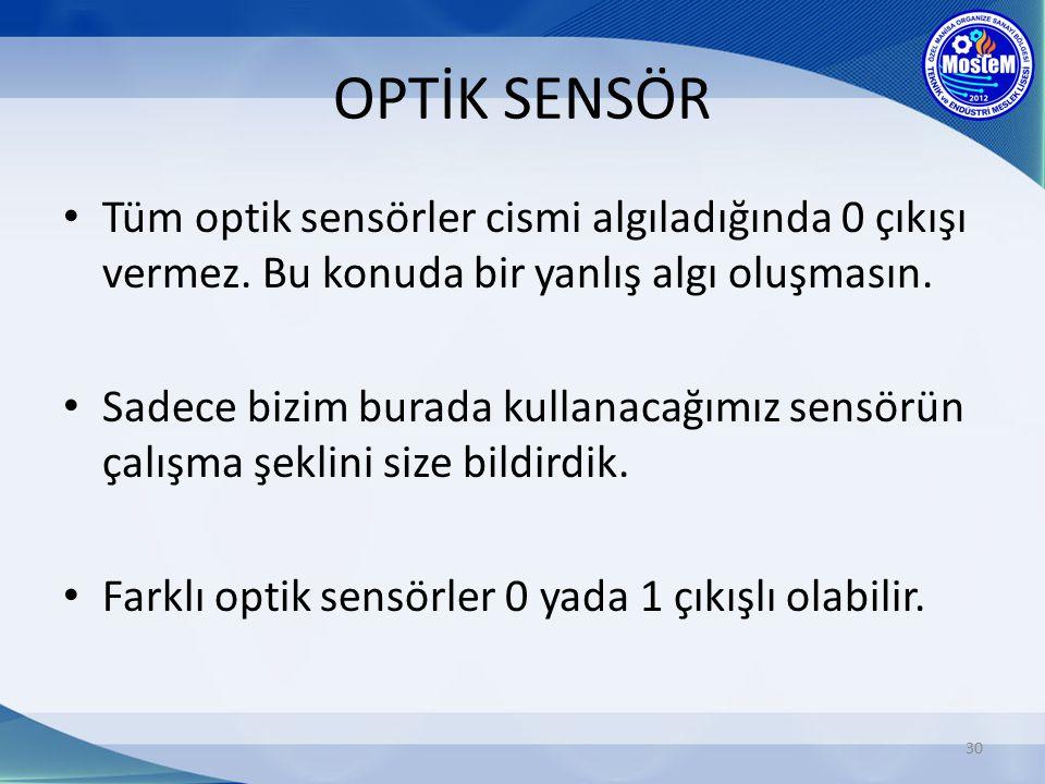 OPTİK SENSÖR Tüm optik sensörler cismi algıladığında 0 çıkışı vermez. Bu konuda bir yanlış algı oluşmasın.