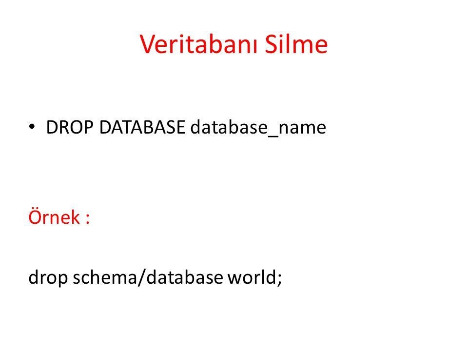 Veritabanı Silme DROP DATABASE database_name Örnek :