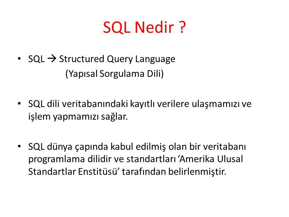 SQL Nedir SQL  Structured Query Language (Yapısal Sorgulama Dili)