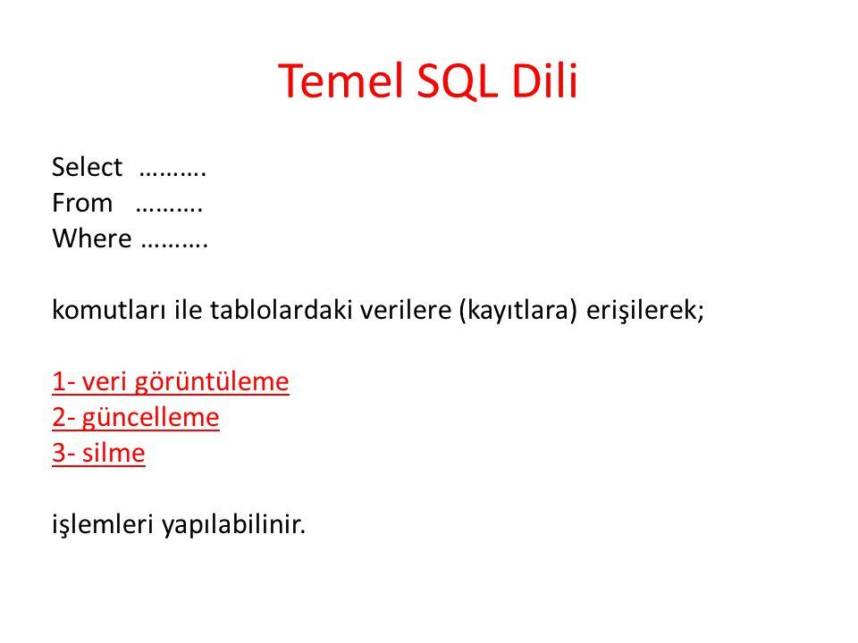 Temel SQL Dili