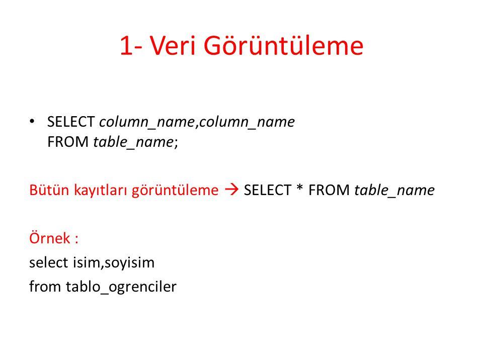 1- Veri Görüntüleme SELECT column_name,column_name FROM table_name;
