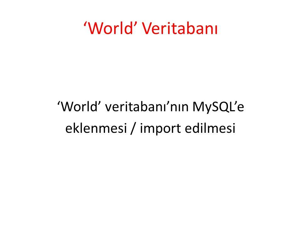 'World' Veritabanı 'World' veritabanı'nın MySQL'e