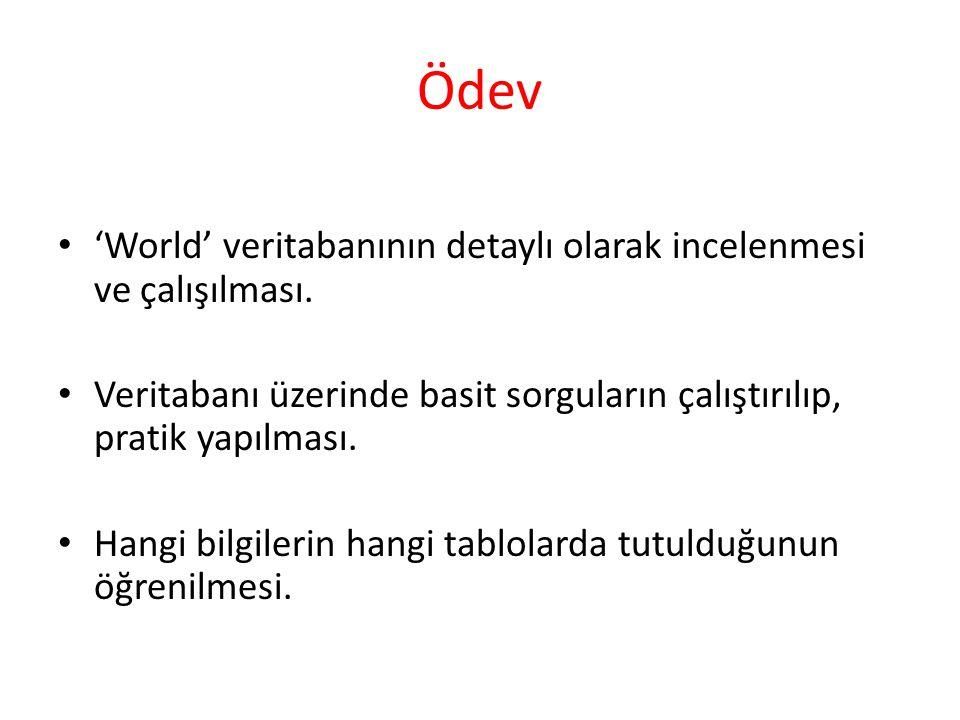 Ödev 'World' veritabanının detaylı olarak incelenmesi ve çalışılması.