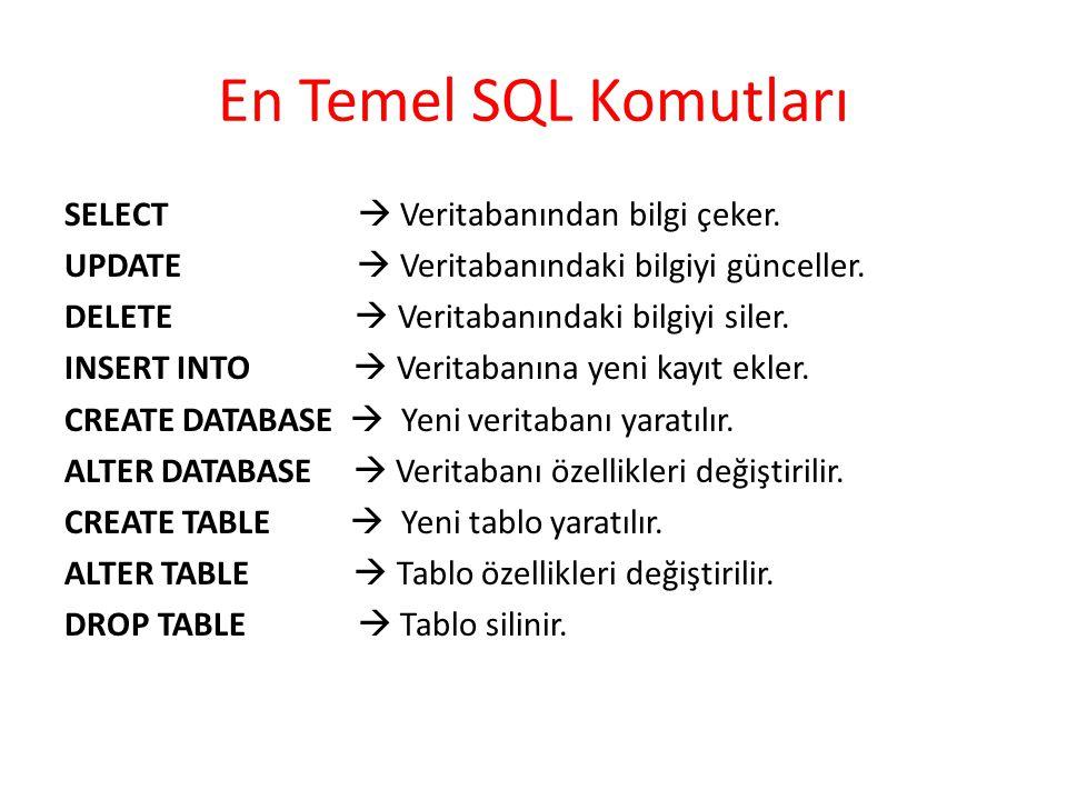 En Temel SQL Komutları