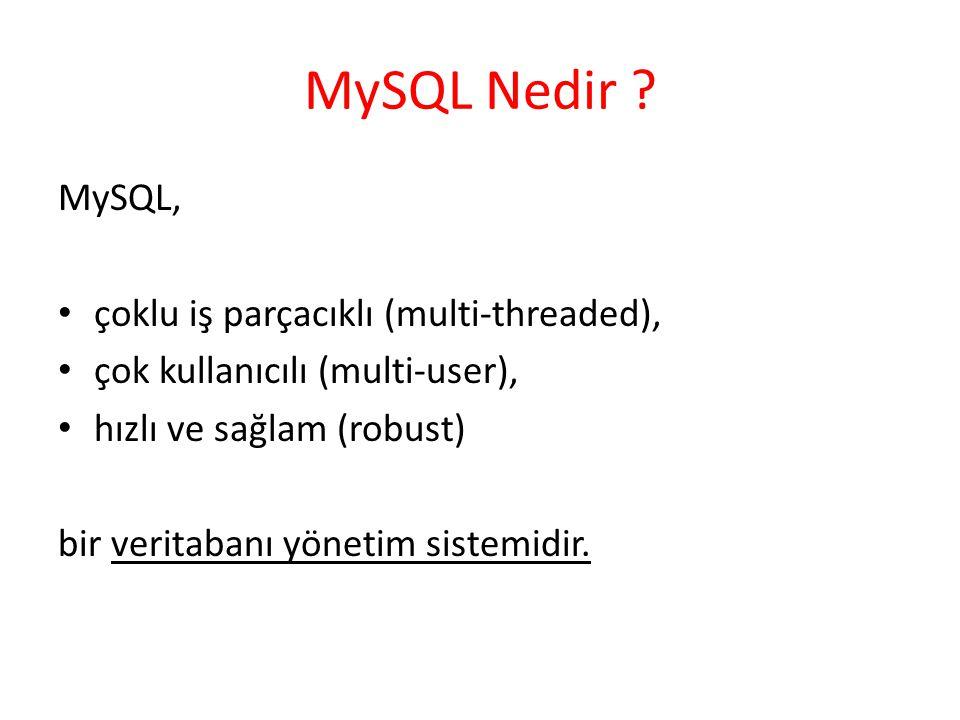 MySQL Nedir MySQL, çoklu iş parçacıklı (multi-threaded),