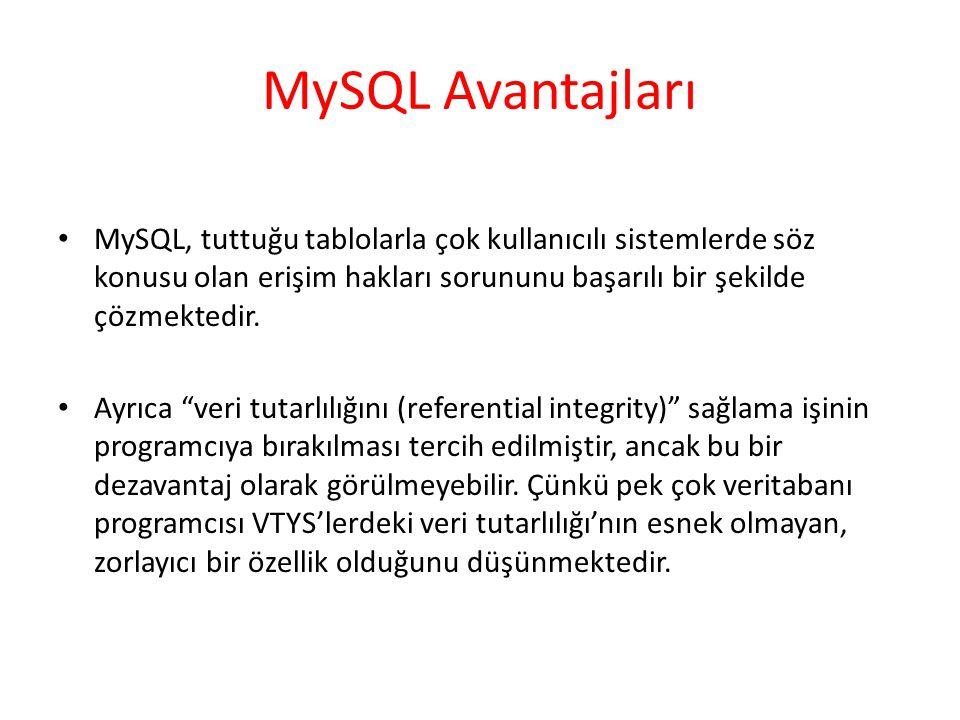 MySQL Avantajları MySQL, tuttuğu tablolarla çok kullanıcılı sistemlerde söz konusu olan erişim hakları sorununu başarılı bir şekilde çözmektedir.