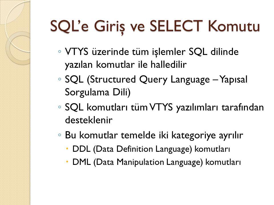 SQL'e Giriş ve SELECT Komutu