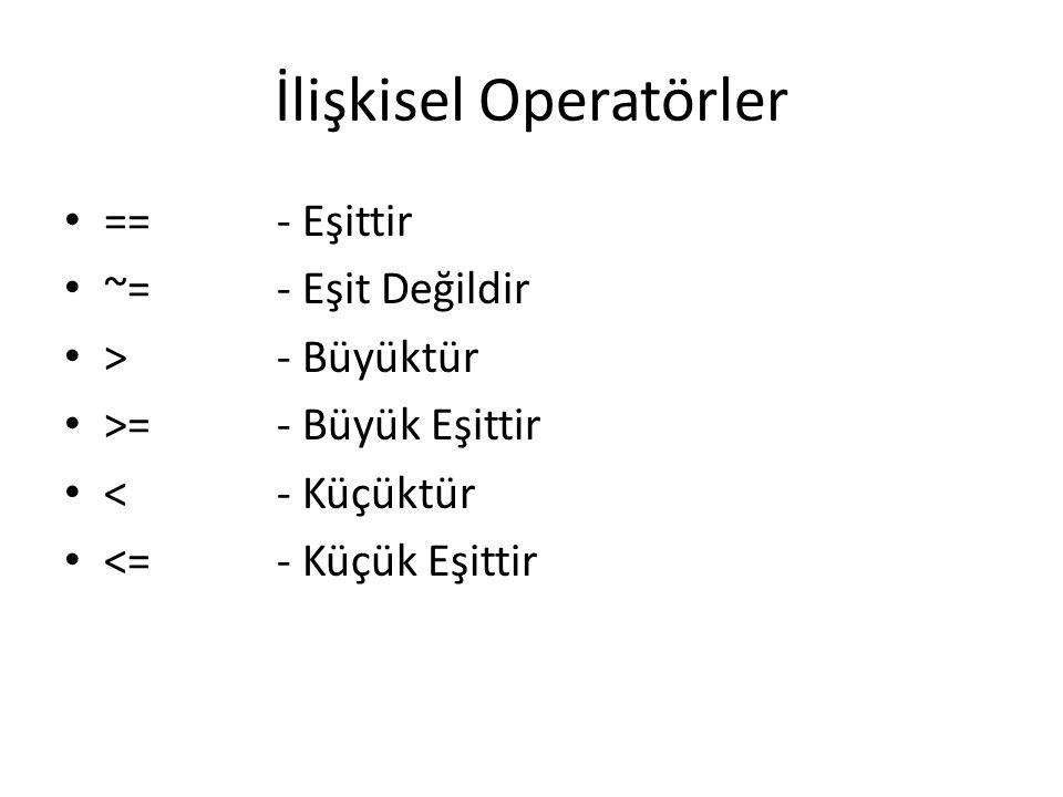 İlişkisel Operatörler
