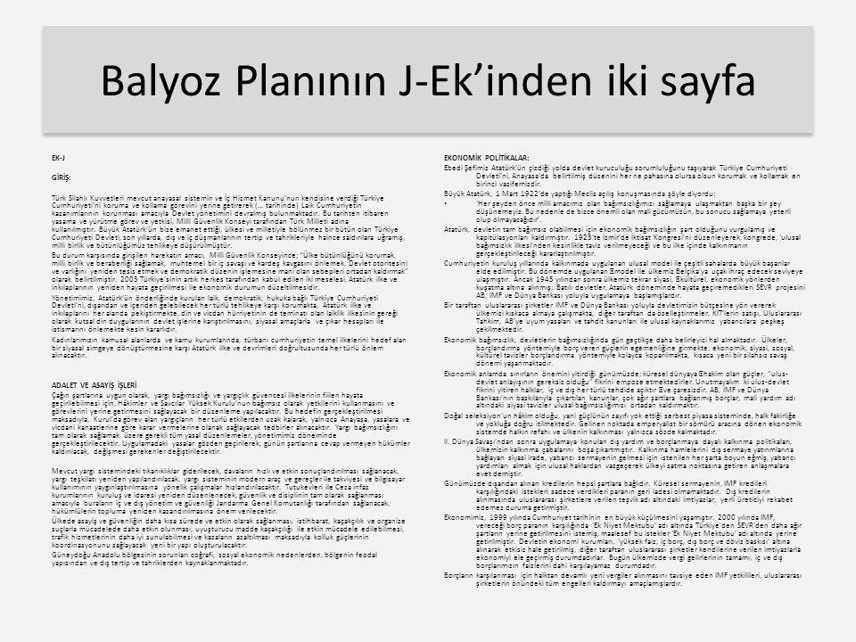 Balyoz Planının J-Ek'inden iki sayfa